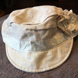 Khaki w gold threads and flower accent newsboy hat